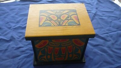 Canada First Nations Artist Clarence A. Wells Haida Keepsake  Wood Box
