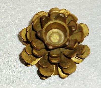 Vintage Solid Brass Heavy Pine Cone Candle Holder, India, Holiday