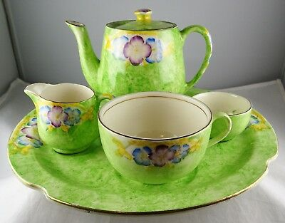 James Kent 1156 Breakfast Set Floral With Green Ground Gold Trim