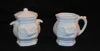 White Porcelain American Eagle Creamer & Sugar Bowl Set Vintage Collectible