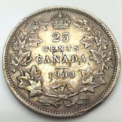 1903 Canada Twenty Five 25 Cents Quarter Silver Circulated Canadian Coin D164