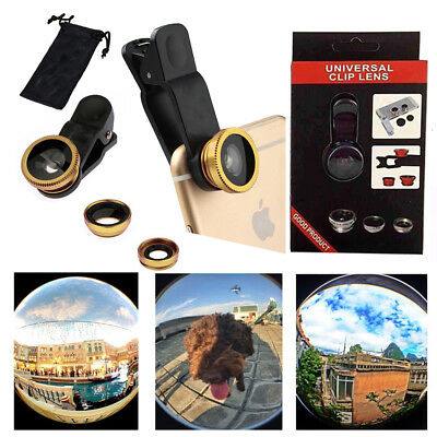 3 in1 Clip-on Fish Eye Wide Angle Macro Camera Lens Cover For iPhone / Samsung