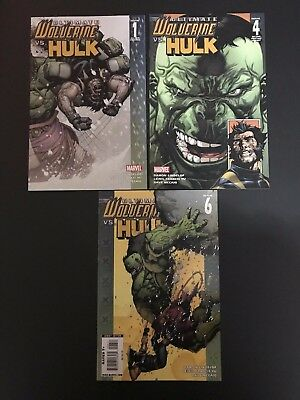 Ultimate Wolverine vs. Hulk 1C, 4B, 6 - 3 issue lot / Marvel Comics VF/NM