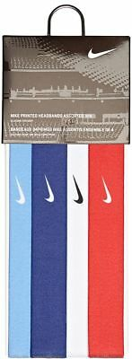 NIKE Printed Headbands Assorted 4 Pack Blue White Red Sky Blue WMNS Men