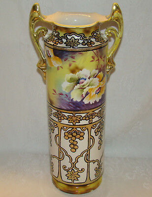 """Antique Large 17"""" Hand Painted Vase JAPAN Flowers & Grapes as is"""