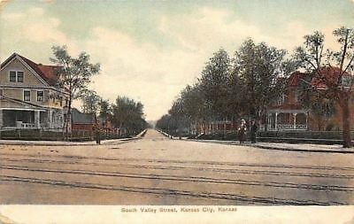 Kansas City Kansas~South Valley Street Homes~Couple on Corner~1909 Postcard