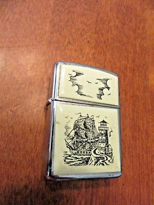 Vintage 1998 Full Size Chrome Scrimshaw Tall Ship And Lighthouse Zippo Lighter