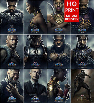 Black Panther Movie Poster 2018 Cast Character Art Print A5 A4 A3 A2