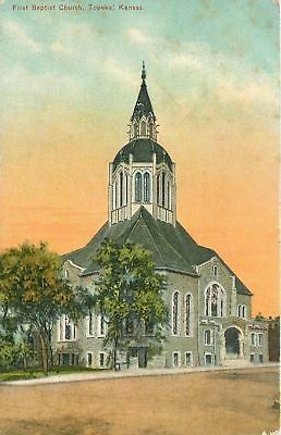 Topeka Kansas~First Baptist Church~1910 Postcard