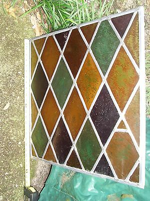 "Vintage Stained Glass Window Panel Colored Diamonds, Leading 22 1/4"" x 21.5"""