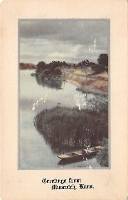 Muscotch Kansas~River View~Train Tracks~1910 Postcard
