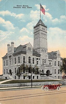 Junction City Kansas~Geary County Court House~Vintage Car~1912 Postcard
