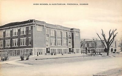 Fredonia Kansas~High School~Auditorium~1930s Sepia Artvue Postcard