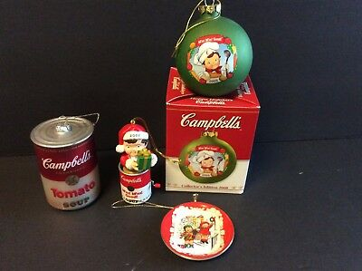 Lot of 4 Campbell's Soup Company CAMPBELL KIDS Christmas Ornaments