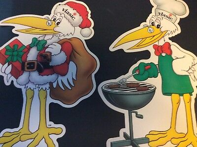 Lot of 2 Vlasic Pickle Stork 1993 Advertising Cut-Outs Campbell's Soup Related