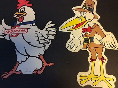 Vlasic Pickle Stork  & Swanson Chicken  Advertising Cut-Outs Campbell's Soup