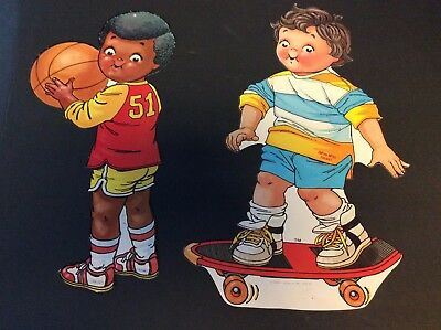 Lot of 2 CAMPBELL KIDS   Advertising Cut-Outs SKATE BOARDER & BASKETBALL PLAYER