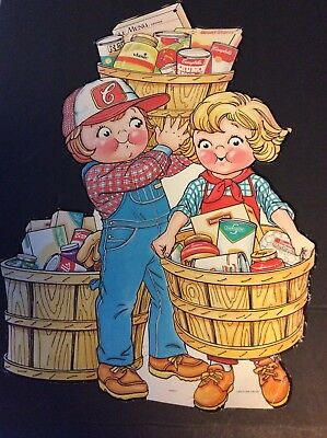 Lot of 2 CAMPBELL KIDS   Advertising Cut-Outs HARVEST OF GOOD FOODS Campaign