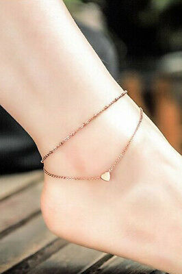 Anklet Double Chain Heart Women Yellow Gold Plated Foot Jewelry Ankle Bracelet