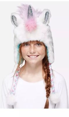 Justice White Pink Blue Unicorn Earflap Beanie Hat Winter New NWT - So Cute !!