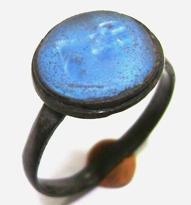 Ancient  bronze ring with stone. (GEM, GLASS)