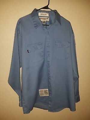 ARMOREX FR Fire Resistant Thick BLUE  Work Shirt Mens Size XXL LONG USED