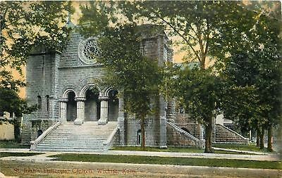 Wichita Kansas~St John's Episcopal Church~Stone Steps~1910 Postcard