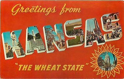 Kansas~State Large Letter Chrome Postcard~The Wheat State~Old West~1960s