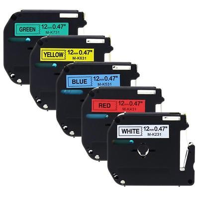 Label Tape Compatible for Brother M-K231 431 531 631 731 P-Touch PT-65 12mm 5PK