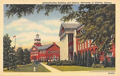 Wichita Kansas~University~Administration Building~Library~1948 Linen Postcard