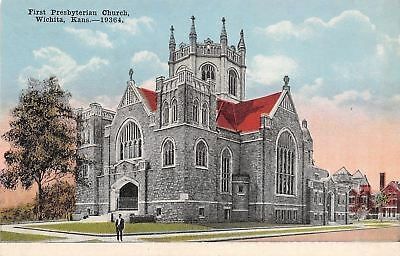 Wichita Kansas~First Presbyterian Church~1910 Postcard