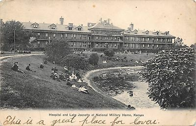National Military Soldiers Home Kansas~Hospital~Lake Jeanette~1906 Postcard
