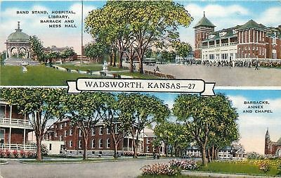 Wadsworth Kansas~Hospital, Library Barracks and Mess Hall, Annex~1940s Postcard