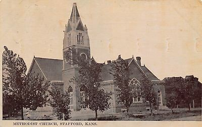 Stafford Kansas~Methodist Church~Sepia Postcard c1910