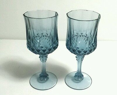 "Pair of Cris d' Arques ICE BLUE Crystal LONGCHAMP - Folies 7 1/4"" WATER GOBLETS"
