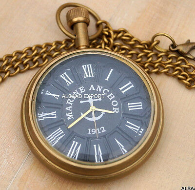 Antique Brass Vintage Victorian Historical & Nautical Pendent Pocket Watch Gift