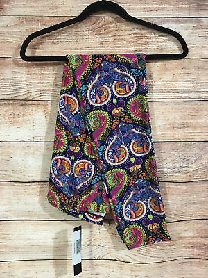 Tall and Curvy Super Soft Leggings Navy Green Pink Paisley Plus Stephanie P219N