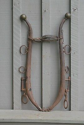 Old Vintage Antique Steel Horse Hames w Chrome Brass Ball Knob Farm Tool Western