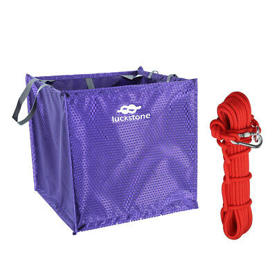 """Perfeclan Throw Line Storage Cube Bag + Red 14KN 0.4"""" 32.8ft Climbing Rope"""