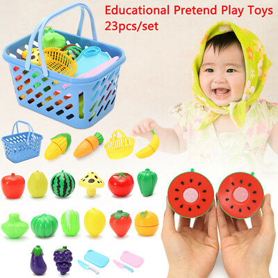 23Pcs Kids Kitchen Fruit Vegetable Food Pretend Role Play Cutting Set Toys Gift