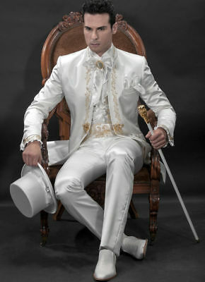 White With Gold Embroidery Vintage Men's Suits Wedding Groomsmen Tuxedos Suit