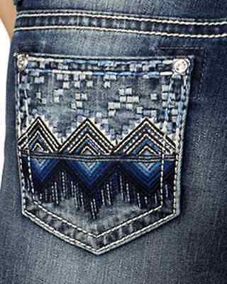 Miss Me Women's Indigo Geometric Embellished Mid-Rise Jeans Skinny - Mp7788s NEW