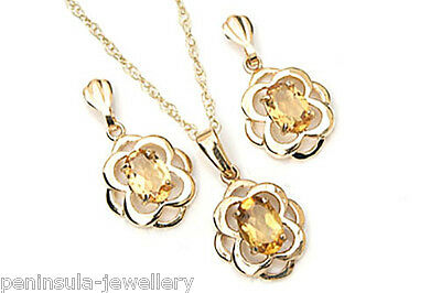 9ct Gold Citrine Celtic Pendant and Earring Set Made in UK Gift Boxed