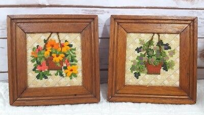 """Pair of Completed Needlepoint Hanging Plant Pictures, Wood Frames, 7.5"""" Square"""