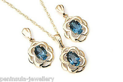 9ct Gold London Blue Topaz Celtic Pendant and Earring Set Made in UK Gift Boxed