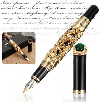 0.5mm Luxus JINHAO Brunnen Stift Gold Drache Dragon Füller Füllfederhalter