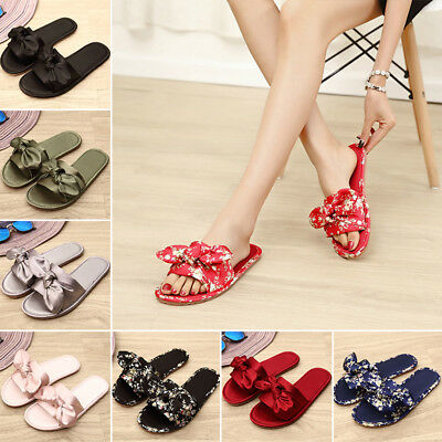 Women Lady Satin Bow Knot Slip On Slippers Summer Flip Flops Sandals Shoes Newly