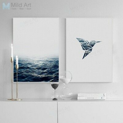 Minimalist Abstract Bird Sea Poster Prints Nordic Home Decor Art Canvas Painting