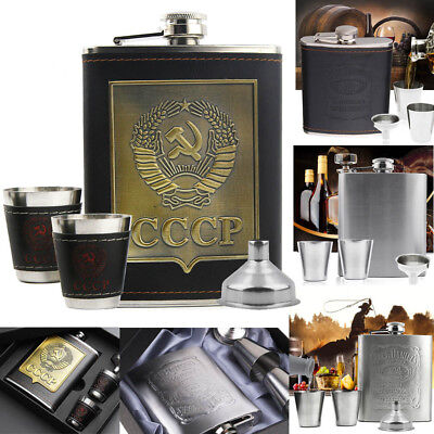 7oz Stainless Steel Hip Flask Liquor Alcohol Drink 2 Cups 1 Funnel Gift Box Set