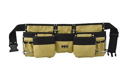 11 Pockets Heavy-Duty Polyester Tool Belts With 2 Steel Hammer Holders